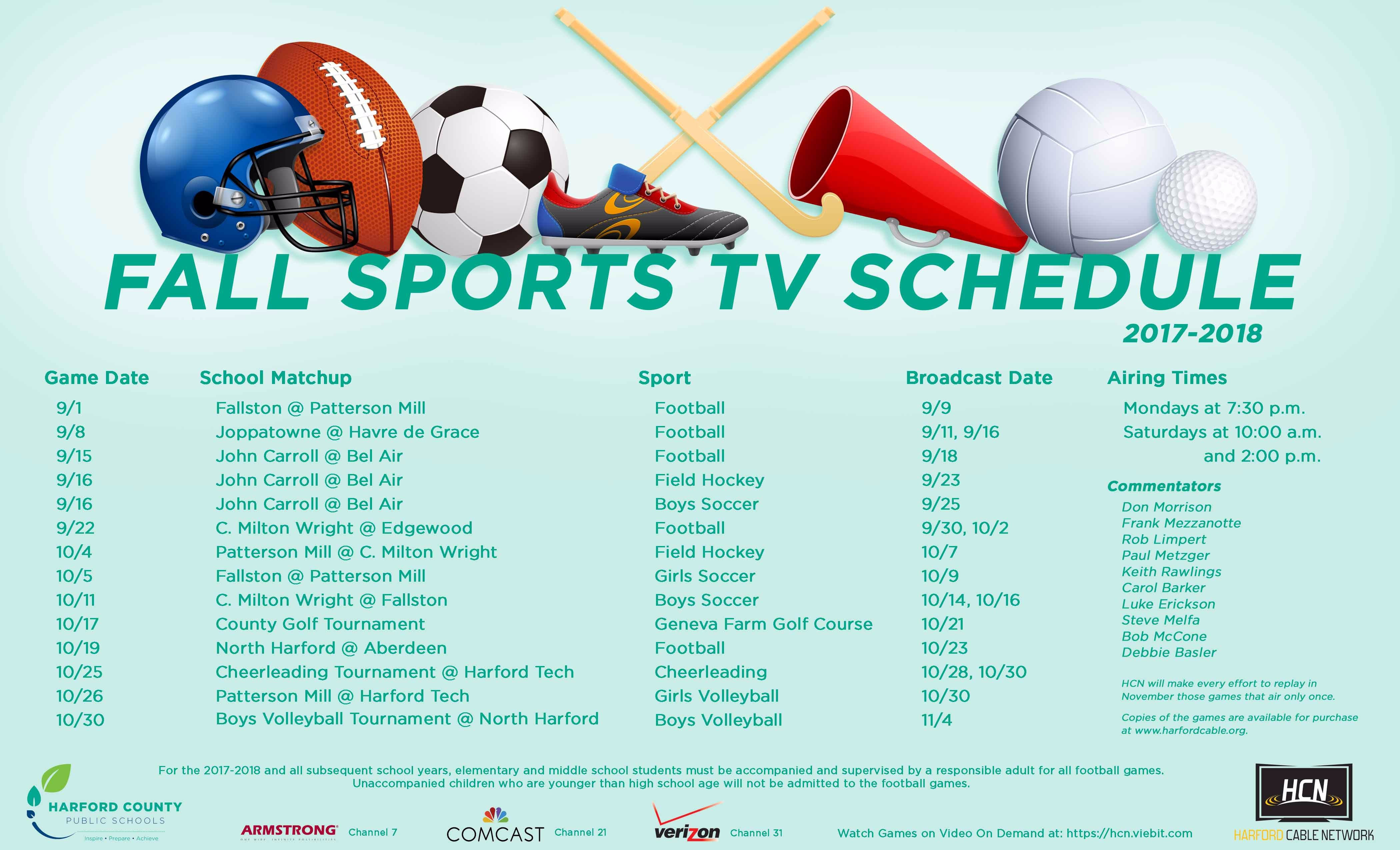 2017-18 Fall Sports Schedule Revised